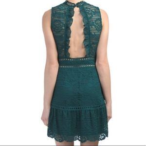 Saylor Rosemary Lace Open Back Dress Emerald Nwt